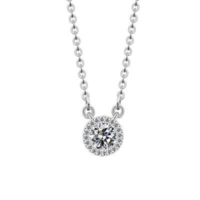 Simple Round Pendant Chain Gold and Silver Color Micro Pave Cubic Zirconia Diamond Necklaces