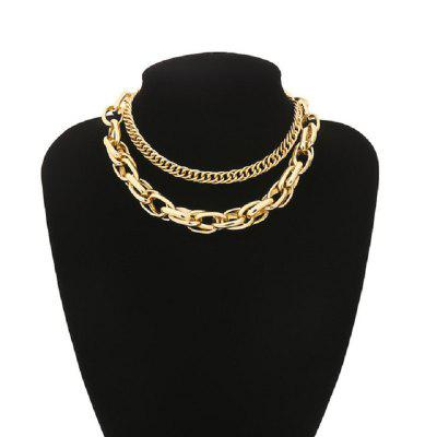 Chain Choker Necklace for Women Statement Layered Gold Figaro Chain Necklace Collar Checker