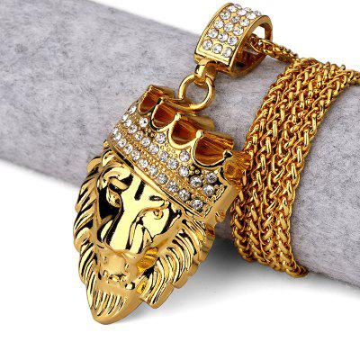 Crown Lion Head Hip Hop Jewelry Collar Chain Y Hombres Necklace Quality 18 Karat Gold