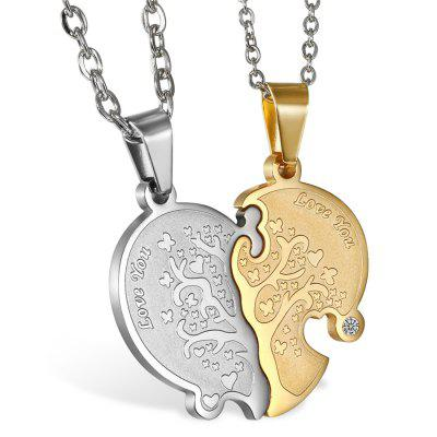 6pcs Broken Heart Chain Pendant Necklace Women Lovers Couples Charm Jewelry
