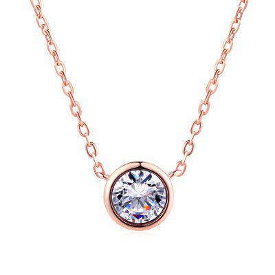 Simply Small Round Cubic Zirconia Pendant Gold Link Chain  Necklace