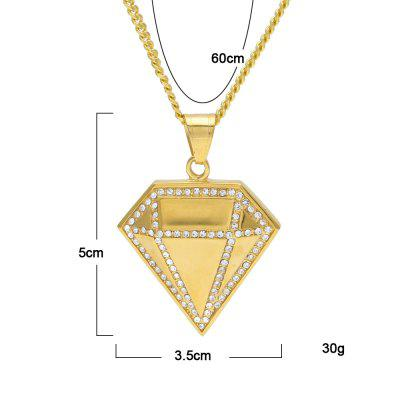 Hip Hop Full Iced Out Diamond Rhinestone Pendant Gold Color Stainless Steel Punk Necklace Chain