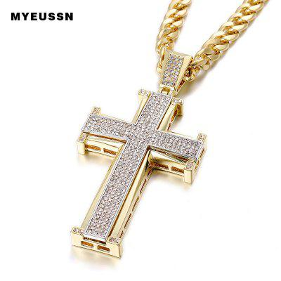 Bling Bling White Cross Pendant Iced Out Crystal Charm Gold Chain Men Necklace