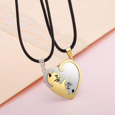 Couple Cute Cartoon Cat Pendant Necklace Gold Silver Color Chain Jewelry Gift For Girl Boys