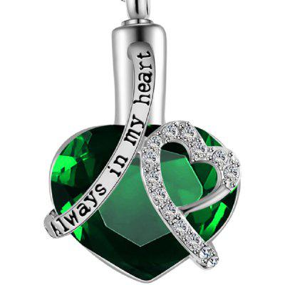 Always In My Heart Locket Chain Cemation Memorial Ashes Urn Birthstone Necklace