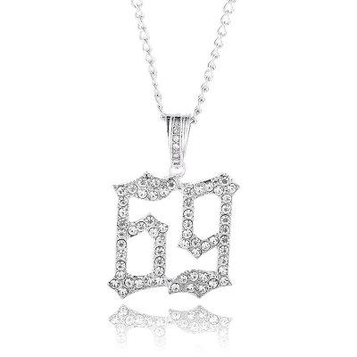 Men Hip Hop Ice Out Bling 69 Rapper Pendant Necklaces Pave Setting AAA Rhinestone Chain Jewelry