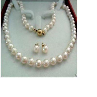 14K Gold Clasp Chain Akoya Cultured Pearl Necklace Earring