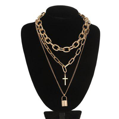 Layered Long Chain Necklace Lock Boys Cross Pendant Necklace Women Choker Chains Jewelry