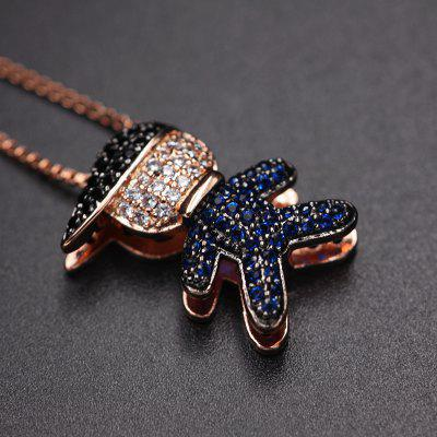 Small Lovely Boy Girl Pendant Necklaces Full Paved Red Blue Cubic Zirconia Gold Color chain