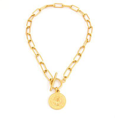 Vintage Carved Coin Necklace for Women Medallion Pendant Chain Link