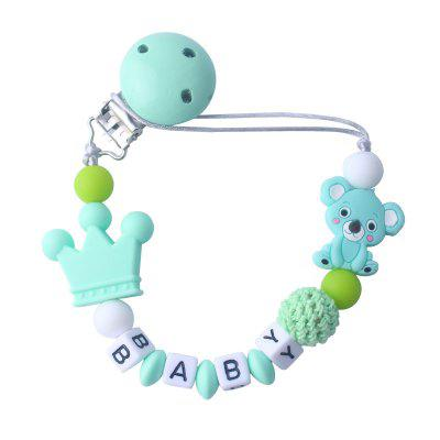 Personalised Name Baby Pacifier Clip Chain Cute Cartoon Bear Letters Toys Teether Chain Holder