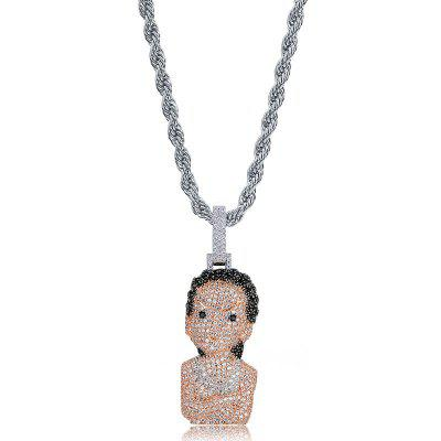 Hip Hop Micro Pave Cubic Zirconia Iced Out Bling Icebox Chains Cartoon Character Necklace