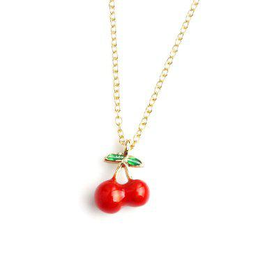 Fashion Cherry Pendant Necklaces Women Girl Kids Long Gold Color Chain Fruit Jewelry Party Gift