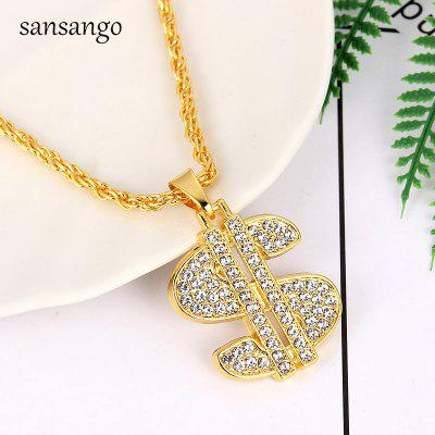 Gold Dollar Sign Alloy Crystal Pendant Necklace Hip Hop Chain Jewelry Party Wedding Accessories