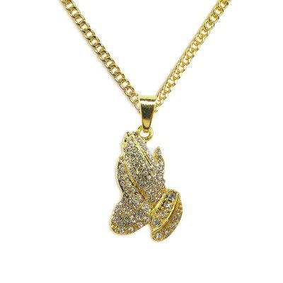 Gold Color Crystal Alloy Hip Hop Men Chain Jewelry Long Necklaces Party