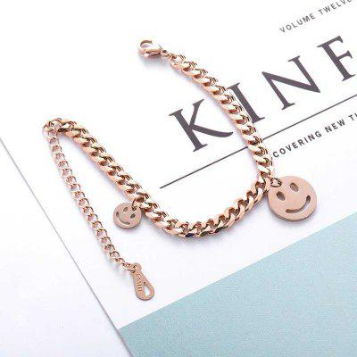 Smiling Face Countenance 9ct Rose Gold Chain Filled Curb Link Lengthen Charm Bracelet