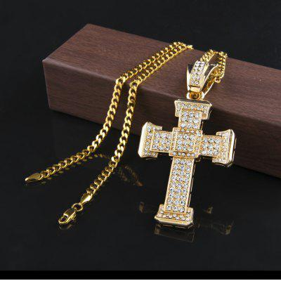 Cross Pendant Necklace Mens Gold Color Iced Out Rhinestone Simulated Diamond Hip Hop Chain Jewelry