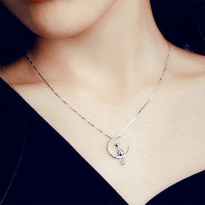 Fashion Cute Animal Cat Moon Pendant Box Chain Necklace Lucky Jewelry For Women Gift