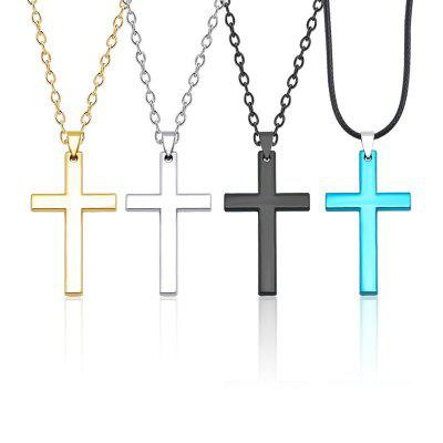 Punk Boys Cross Necklace For Men Unisex Hip Hop Cool Long Chain Necklaces