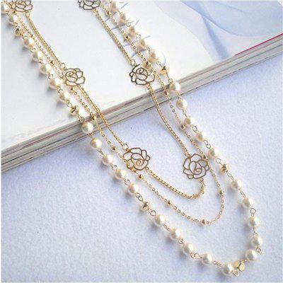 Multilayer Long Chain Necklace Rose Copper Beads Beaded Pearl Necklaces