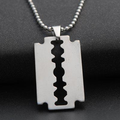 1PC Silver Color Cool Razor Blade Pendant Chain for Boys Stainless Steel Man Necklace