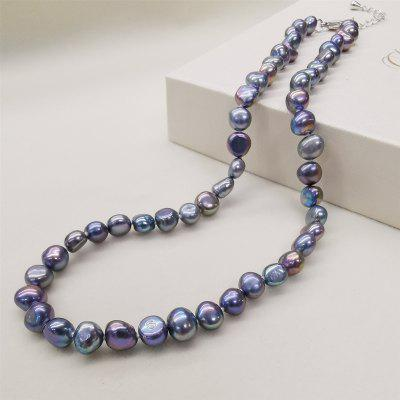 Natural Freshwater Pearl Necklace Black Diamond Chain Fine Pearl Jewelry For Women