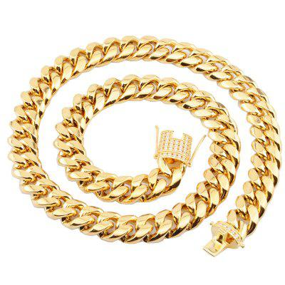8mm wide Stainless Steel Cuban Chains Necklaces CZ Zircon Box Lock Big Heavy Gold Chain