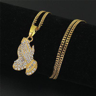 The Praying Hands Pendants Hip Hop Chains Necklaces Brother Gift Gold Color