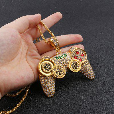 Hip Hop Iced Out Game Controller Handle Pendant Necklace Gold CZ Crystal Rhinestone Jewelry Chain
