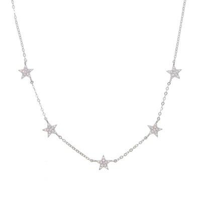 925 Sterling Silver Necklace Chain Cute Star Choker Charm Necklaces Charming Women Jewelry