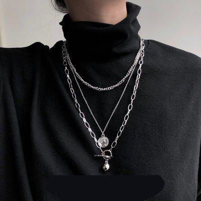 Trendy Metal Ball Coin Pendant Multi-layer Long Chain Necklace