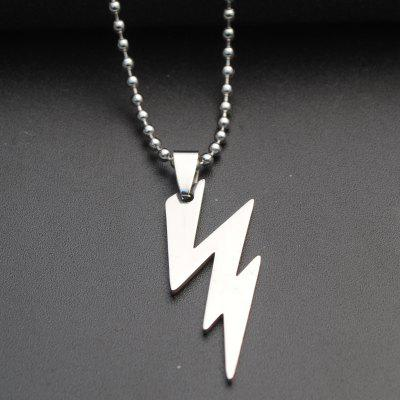 1PC Silver Color Cool Boy Lightning Pendants Stainless Steel Chain Necklace Choker for Boys