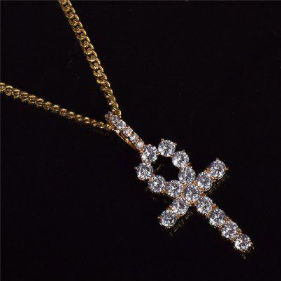 Iced Zircon Ankh Cross Pendant Bubble Letter Chain Pendant Necklace