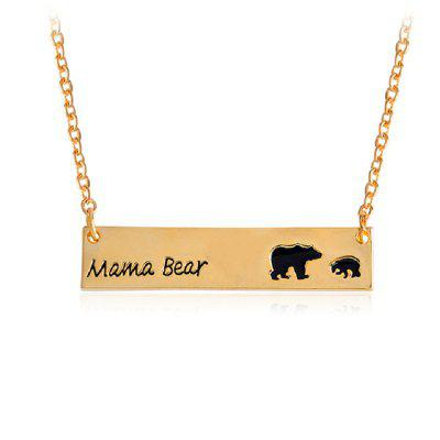 Mama Bear Pendant Chain Gold Kids Necklace Simple Fashion Mom and Children Jewelry