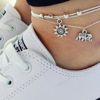 Multiple Layers Anklets for Women Elephant Sun Pendant Chain Beach Foot Ankle Bracelet Jewelry