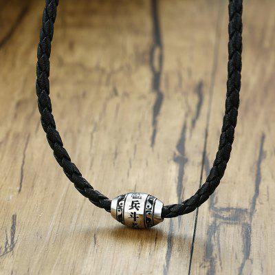 Men Necklace 9 Words Buddha Mantra Lucky Black Beads Chain Stainless Steel Charm Pendant
