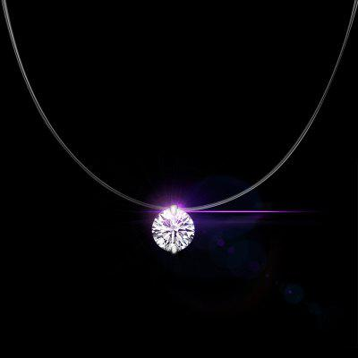 Top Quality White Crystals Pendant Necklace 925 Sterling Silver Chain Girls Choker Accessories