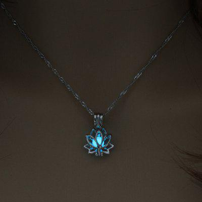 Luminous Glowing In The Dark Moon Diamond Chain Necklace Lotus Flower Shaped Pendant Necklace