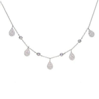 Charm 925 Sterling Silver Chain For Girls Jewelry Water Drop CZ Stone Choker Necklace