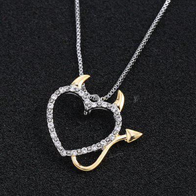 Love Heart Accent Devil Heart Pendant Necklaces Box Chain Necklace