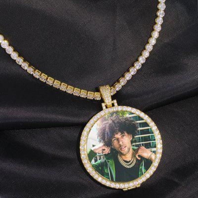 20 inch Photo Medallions Pendant Necklace with 4mm Tennis Chain Link Necklace