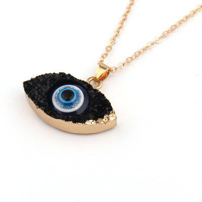 Fashion Gold Color Long White Gold Rope Chain Evil Eye Necklace Ethnic Natural Stone
