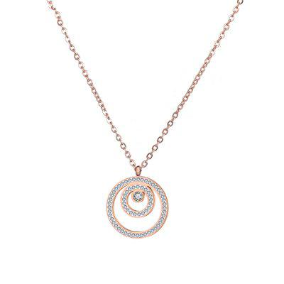 White Rhinestones Pendant Necklace Rose Gold Stainless Steel  Men Chain