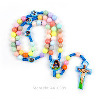 Boys Girl Pink Blue Wood Colorful Sticker Bead Cord Baptism Chain
