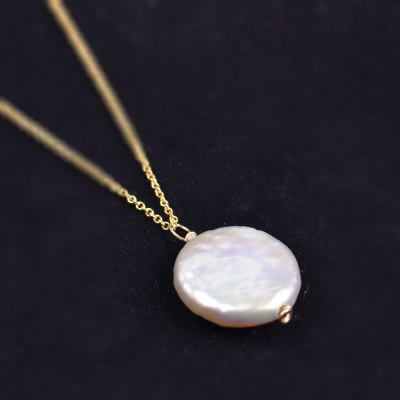 14k Gold Natural Baroque Pearl Pendant Shaped Beads Button Pearl Necklace Chain