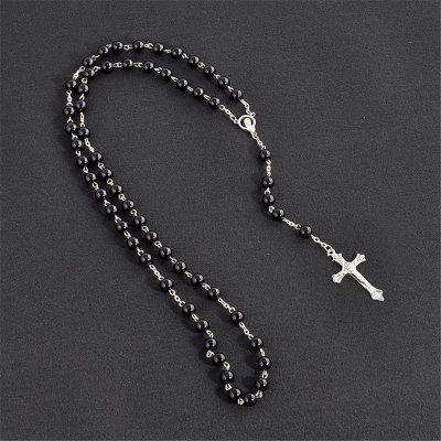 Catholic Religious Silver Plated Crucifix Jesus Black Beads Chain Rosary Necklace