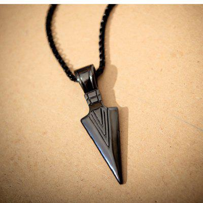 Men Fashion Arrow Head Pendant Long Chain Stainless Steel Necklace