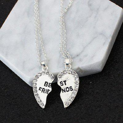 Unsex 2Pcs Bff Necklace Heart Pendant  Necklace Women Metal Couple Gold Chains Jewelry Men