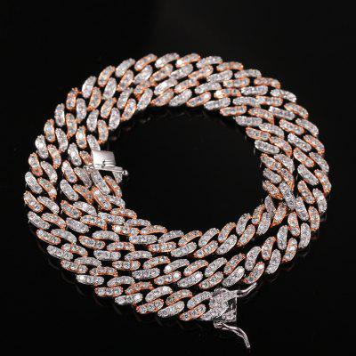 9mm Iced Out Women Choker Necklace Gold Cuban Link with White Pink Cubic Zirconia Chain