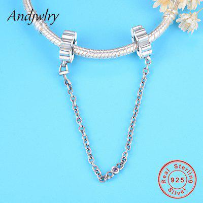 Fit Original Pandora Charms Bracelet 925 Sterling Silver White Zircon Safety Chain